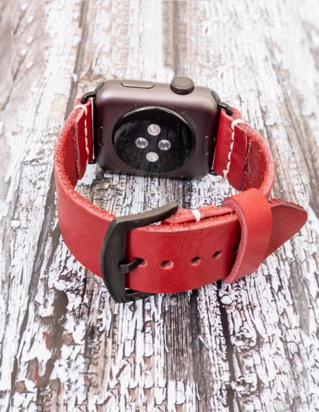 Handmade Leather Apple Iwatch Band Red