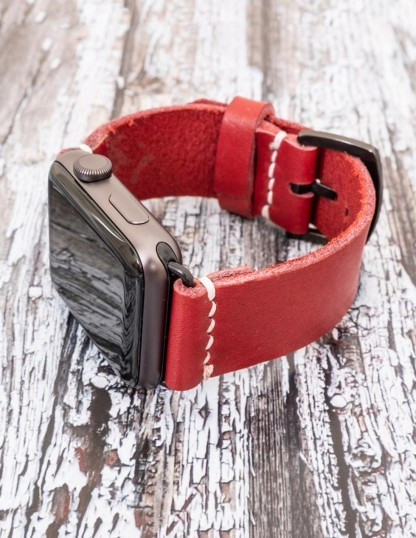Handmade Leather Apple IWatch Strap Red