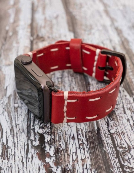 Handmade Leather Apple Watch Band Red