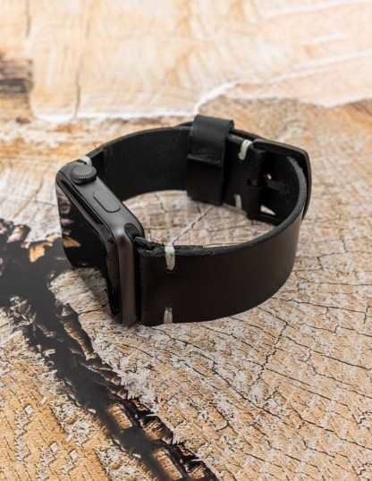 Handmade Leather Apple Watch Band Black