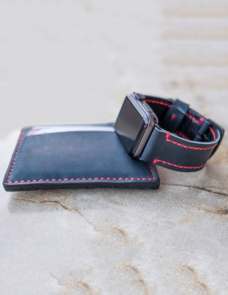 Hand Stitched Leather Apple Watch Band Blue 44mm, 42mm, 40mm, 38mm