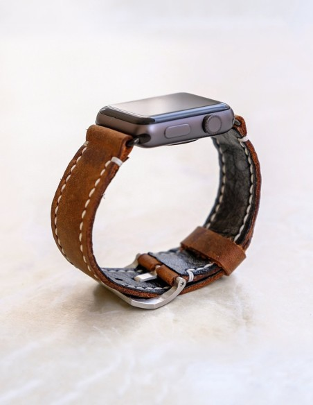Hand Stitched Leather Apple Watch Band Brown 44mm 42mm 40mm 38mm