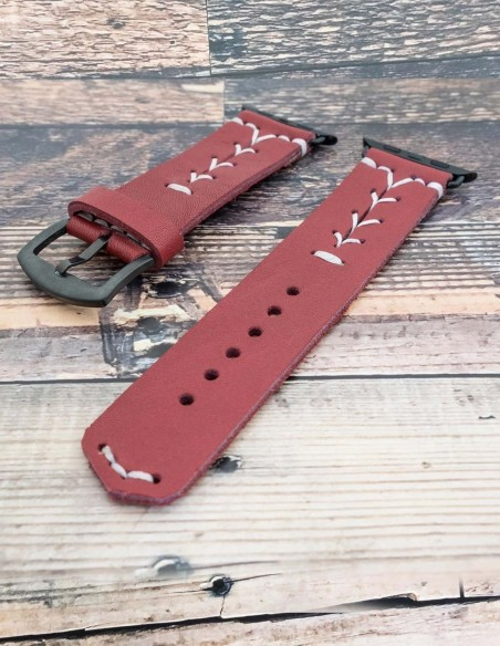 Handmade Leather Apple Watch Strap Red