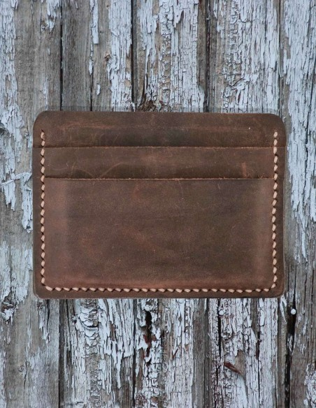 Horizontal Leather Card Wallet, Naturally Tanned Leather Card Case