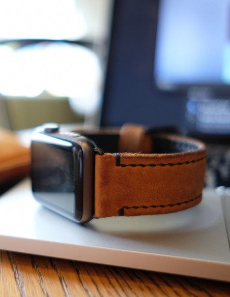 Hand Stitched Leather Apple Watch Band Brown 42mm 38mm
