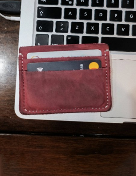 Hand Stitched Leather Card Holder Pink