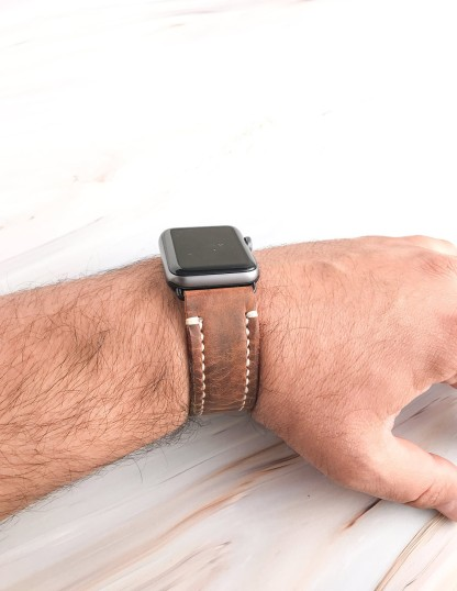 Handmade & Hand Stitched Leather Apple Watch Strap Brown