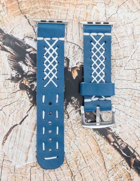 Handmade Leather Apple Watch Sport Strap Blue