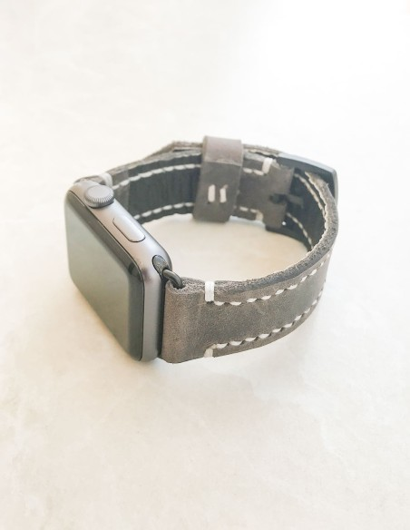 Hand Stitched Leather Apple Watch Strap Gray