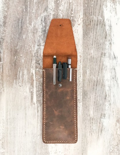 Handmade & Hand Stitched Leather Pen and Pencil Case