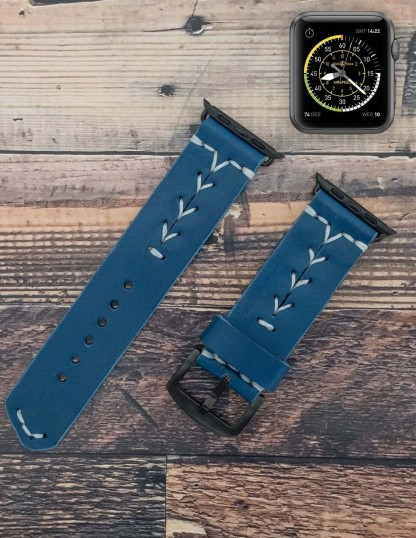 Handmade Leather Apple Watch Band Blue