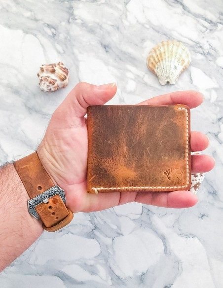 Handmade and Hand Stitched Minimalist Leather Wallet