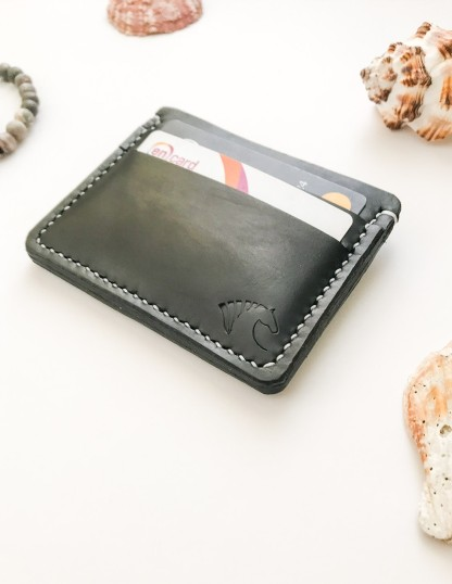 Hand Stitched Black Leather Card Holder